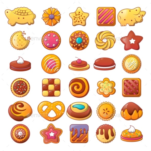 Biscuit Cookies Icons Set - Food Objects