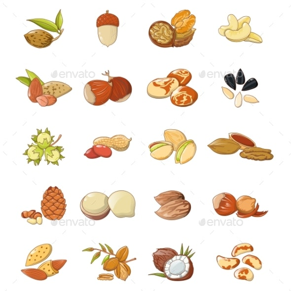 Nut Types Food Icons Set, Cartoon Style - Food Objects