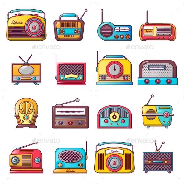 Radio Music Old Device Icons Set