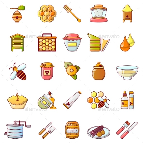 Propolis Honey Jelly Icons Set - Food Objects