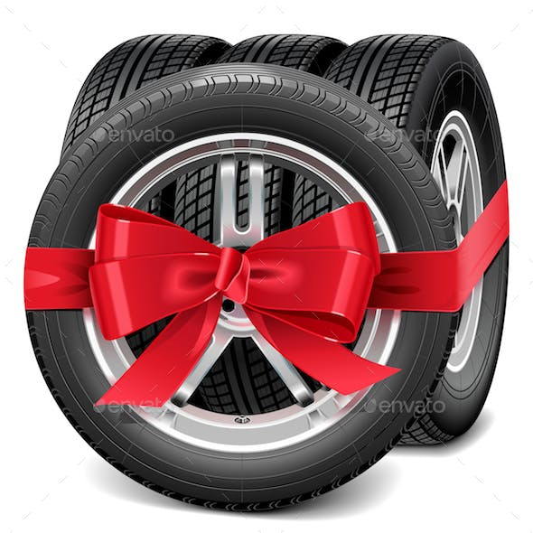 Vector Car Wheels with Red Bow