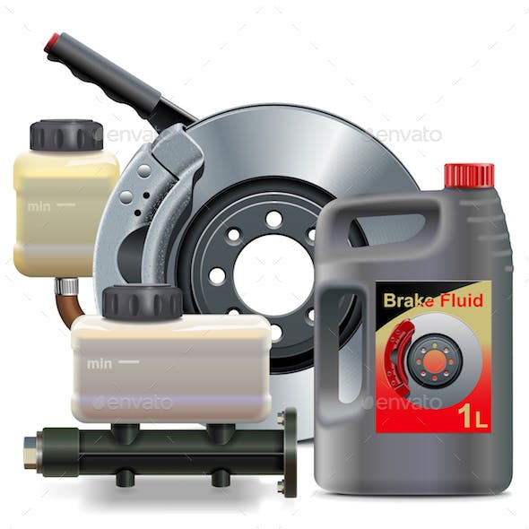 Vector Car Brake System Parts with Brake Fluid