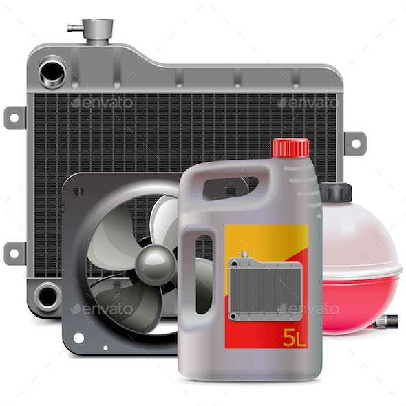 Vector Engine Cooling System Parts with Antifreeze