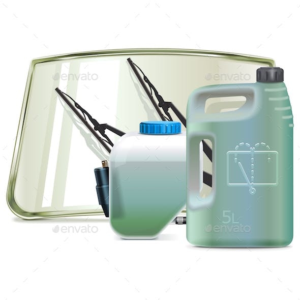 Vector Car Windshield Cleaning System Parts