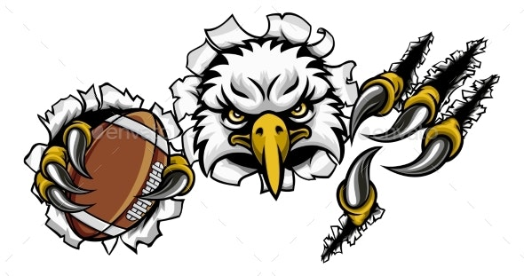 Eagle Football Cartoon Mascot Tearing Background - Sports/Activity Conceptual