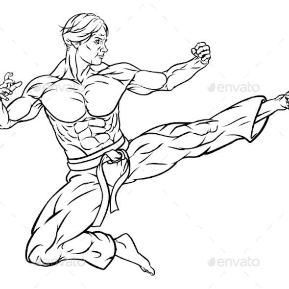 Flying Kick Karate or Kung Fu Man