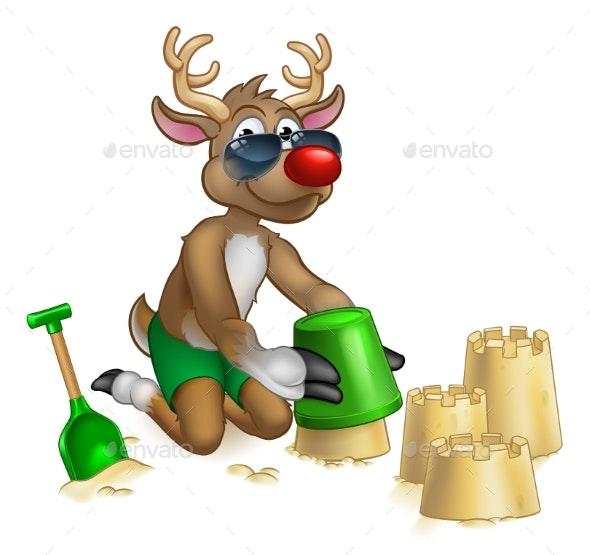 Santas Reindeer in Shades Sunglasses on the Beach - Christmas Seasons/Holidays