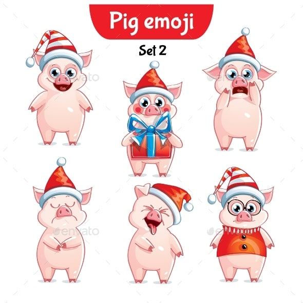 Vector Set of Christmas Pig Characters Set 2 - Animals Characters