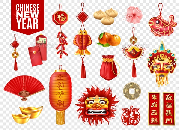 Chinese New Year Transparent Set - Miscellaneous Vectors