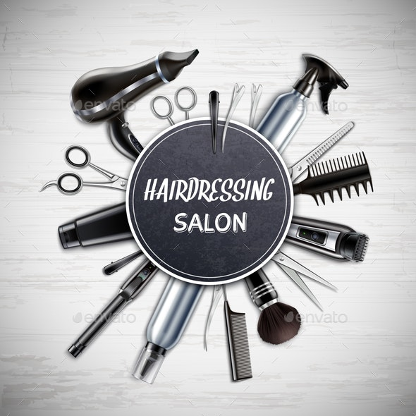 Hairdressing Tools Realistic Composition - Industries Business