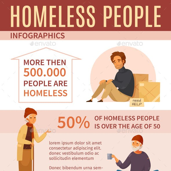 Homeless People Cartoon Infographics