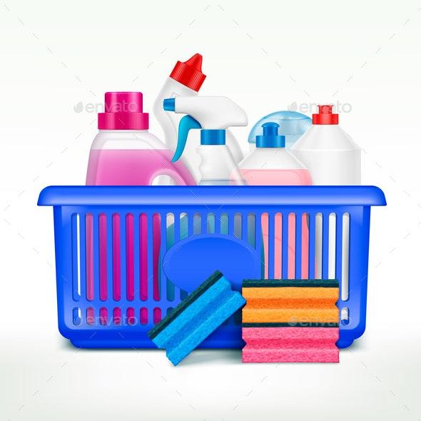 Detergents Shopping Basket Composition - Miscellaneous Vectors