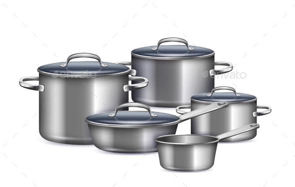Saucepan Realistic Set - Food Objects