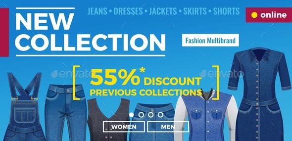 Denim Clothing Web Banner - Business Conceptual