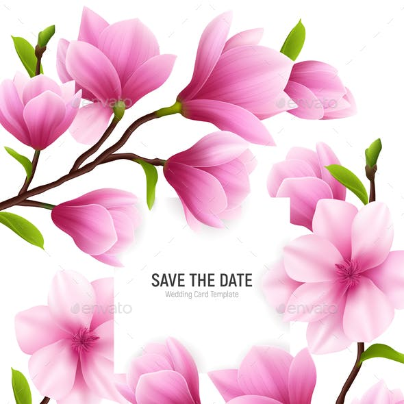 Realistic Magnolia Flower Frame