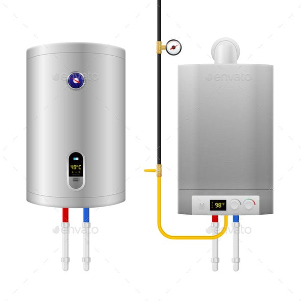 Colored Realistic Water Heater Boiler Composition