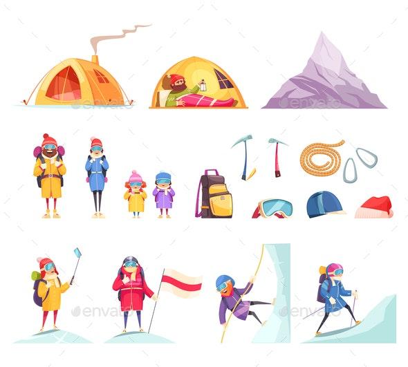 Mountaineering Cartoon Set - Sports/Activity Conceptual
