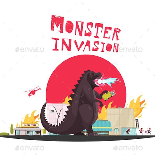 Modern Monster Dragon Illustration