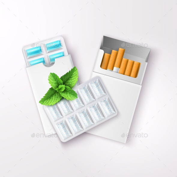 Realistic Chewing Gum And Cigarettes - Objects Vectors