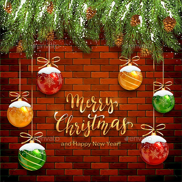 Christmas Lettering on Brick Wall Background with Balls and Snow - Christmas Seasons/Holidays