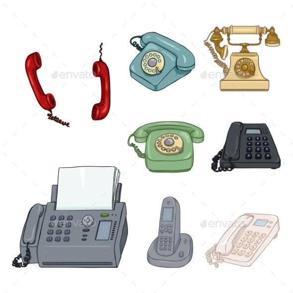 Vector Set of Cartoon Color Telephones - Miscellaneous Vectors