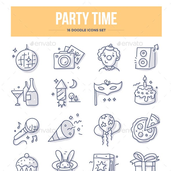 Party Time Doodle Icons