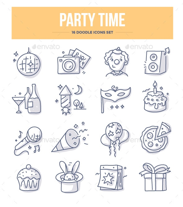 Party Time Doodle Icons - Miscellaneous Icons