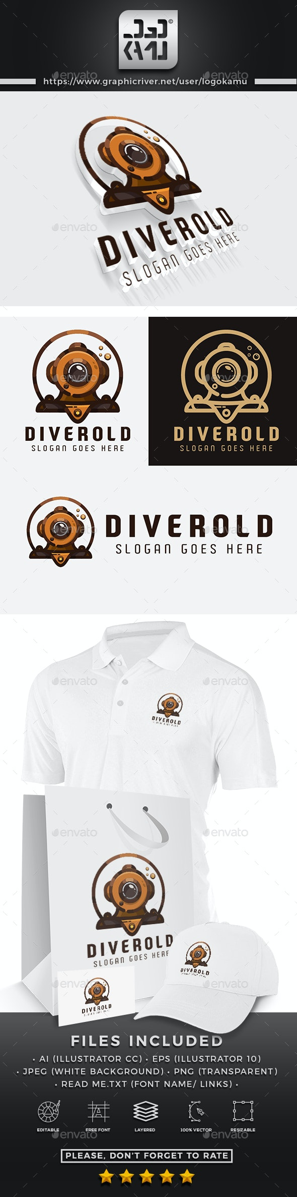 Old Diver Logo - Objects Logo Templates