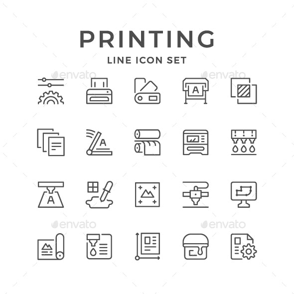 Set Line Icons of Print - Man-made objects Objects