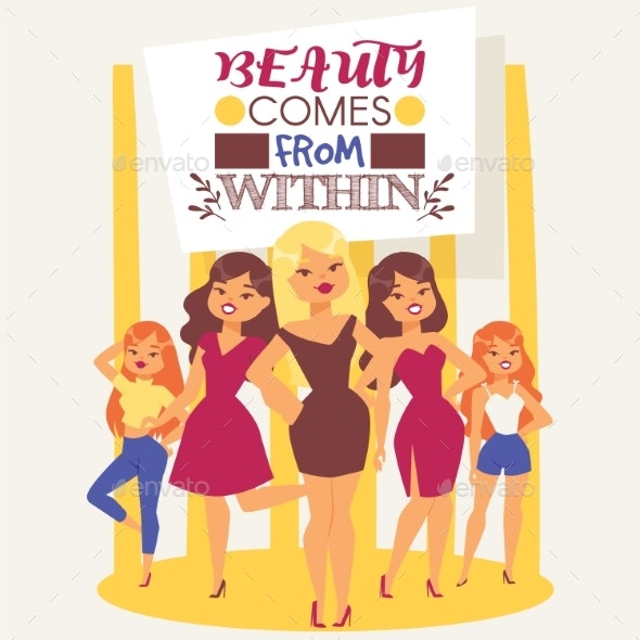 Fashionable Models. Young Girls Vector - People Characters