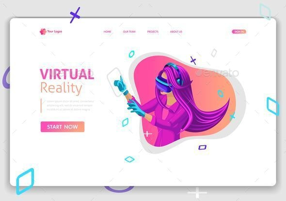 Website Template Design Isometric Concept - Computers Technology