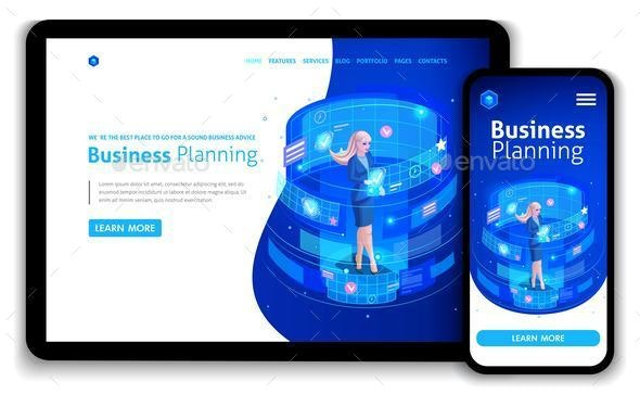Website Template Design Isometric Concept - Business Conceptual