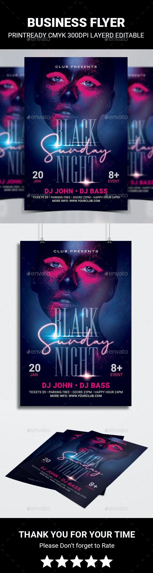 Black Night Sunday Flyer - Flyers Print Templates