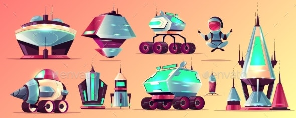 Space Stations and Vehicles Cartoon Vector Set - Miscellaneous Vectors