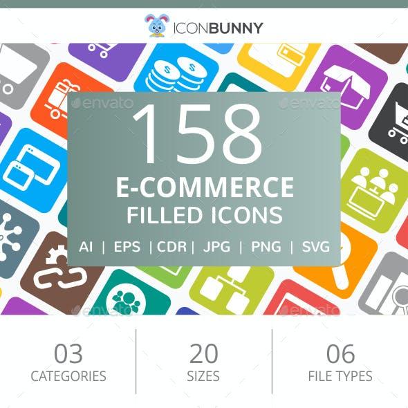 158 E-Commerce Filled Round Corner Icons