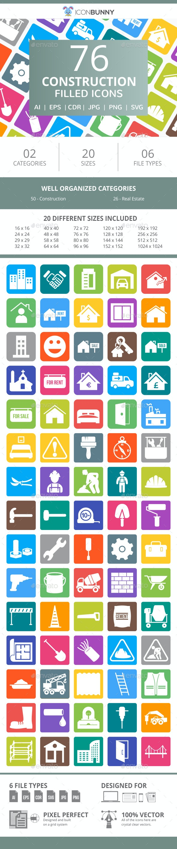 76 Construction Filled Round Corner Icons - Icons