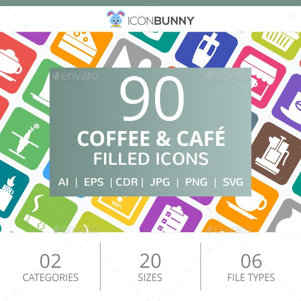 90 Coffee & Cafe Filled Round Corner Icons