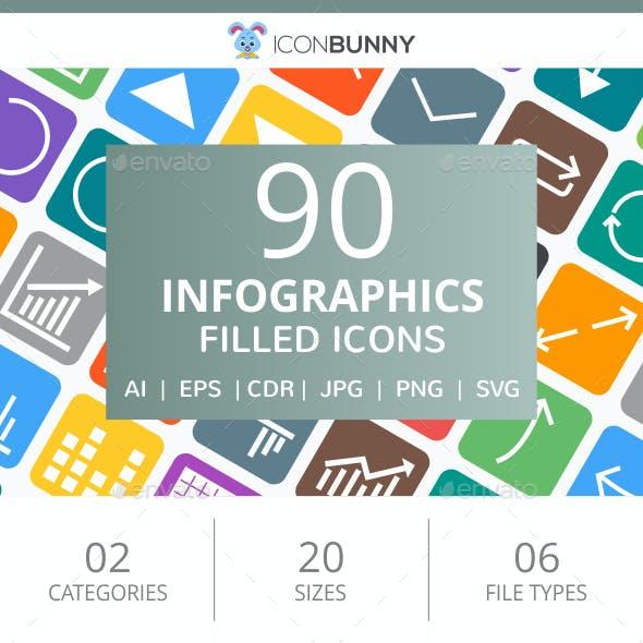 90 Infographics Filled Round Corner Icons