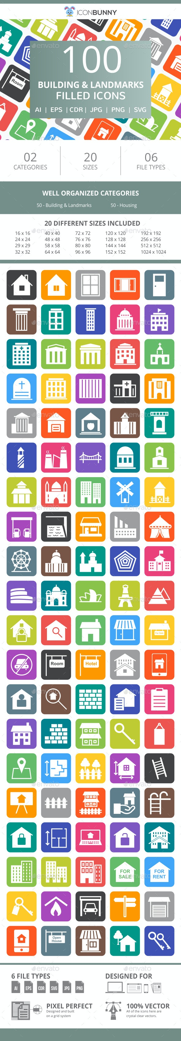 100 Building & Landmarks Filled Round Corner Icons - Icons