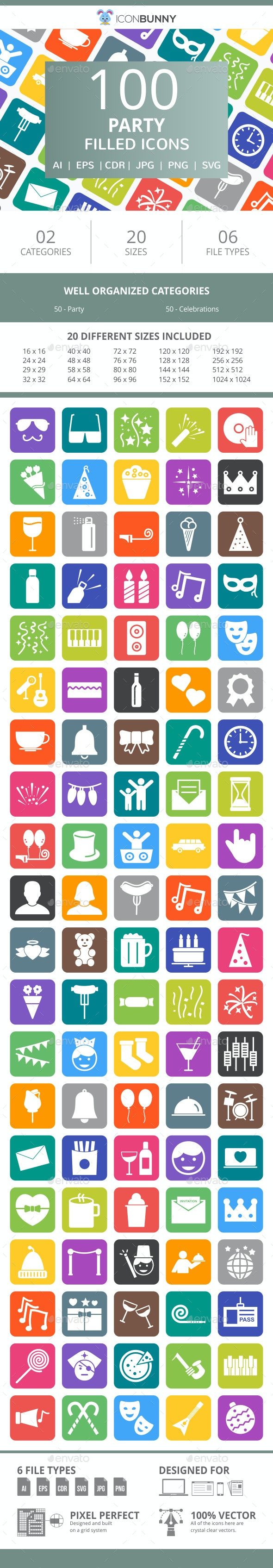 100 Party Filled Round Corner Icons - Icons