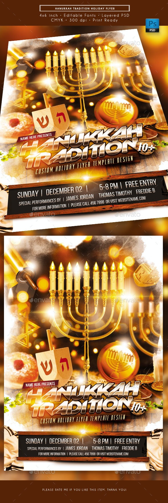 Hanukkah Tradition Holiday Flyer - Holidays Events