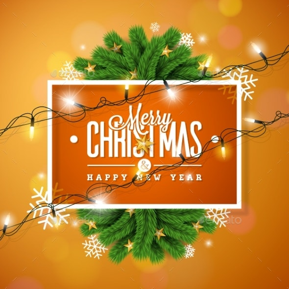 Merry Christmas Illustration on Orange Background - Christmas Seasons/Holidays
