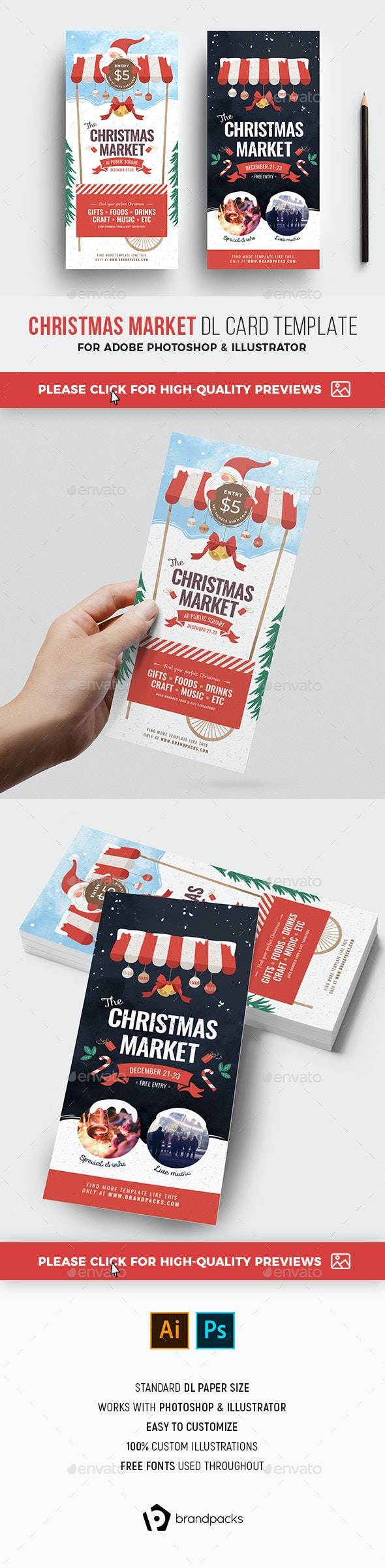 Christmas Market DL Rack Card - Holidays Events