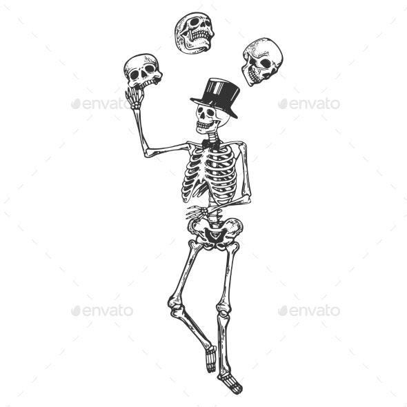 Skeleton Juggles Skulls Engraving Vector - Miscellaneous Vectors