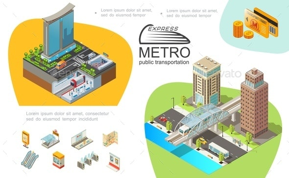 Metro Public Transport Infographic Template - Buildings Objects