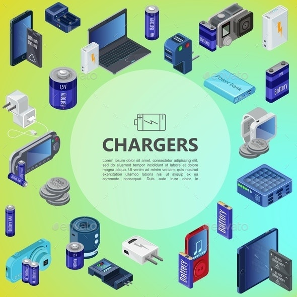 Isometric Charging Sources Concept - Technology Conceptual