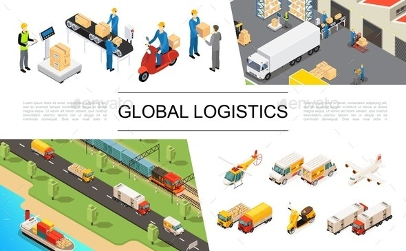 Isometric Global Logistics Elements Set - Miscellaneous Vectors