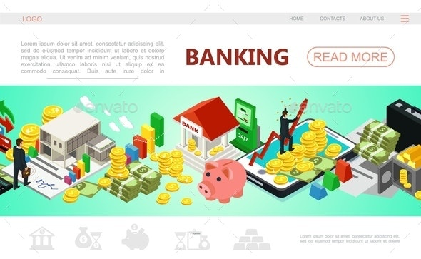 Isometric Banking Web Page Template - People Characters