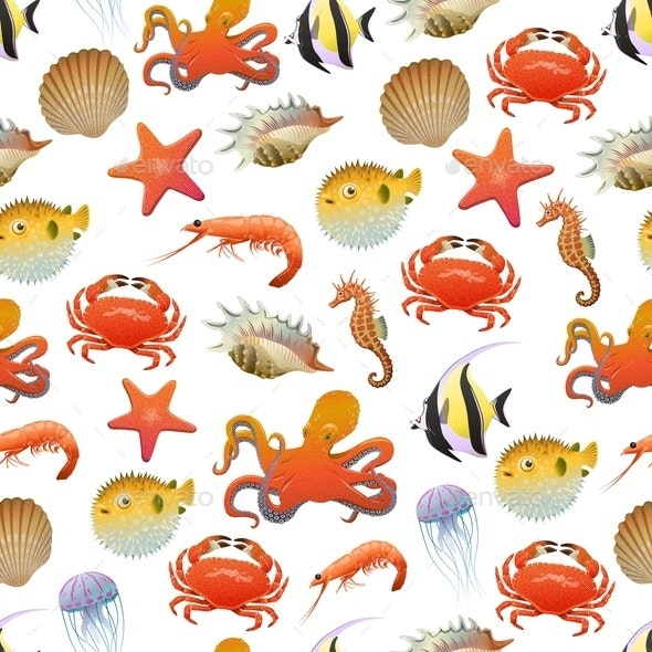 Sea And Ocean Life Seamless Pattern - Animals Characters