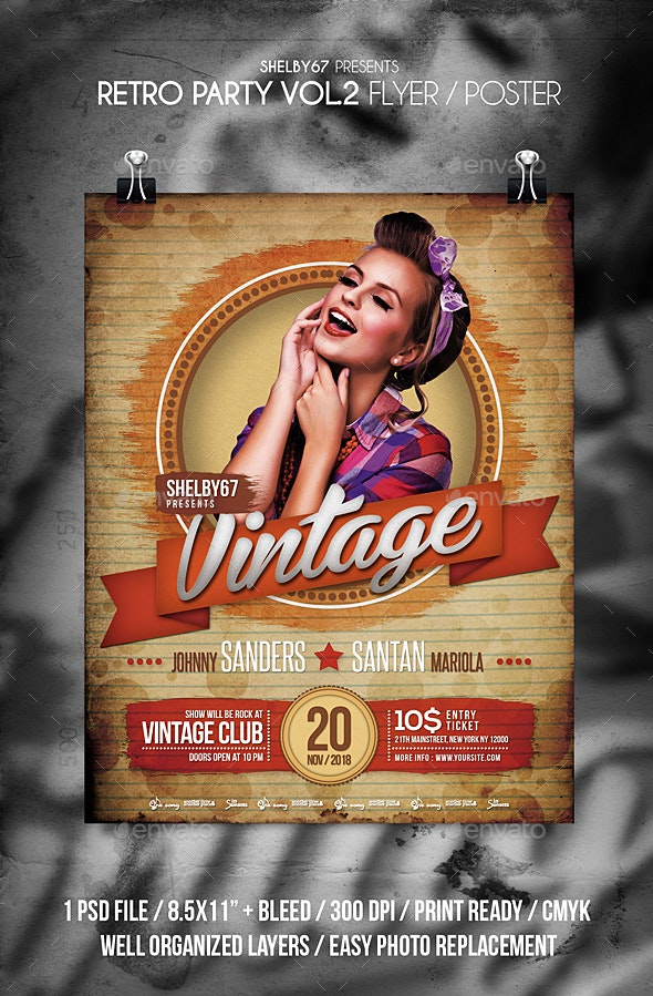 Retro Party Flyer / Poster Vol 2 - Events Flyers